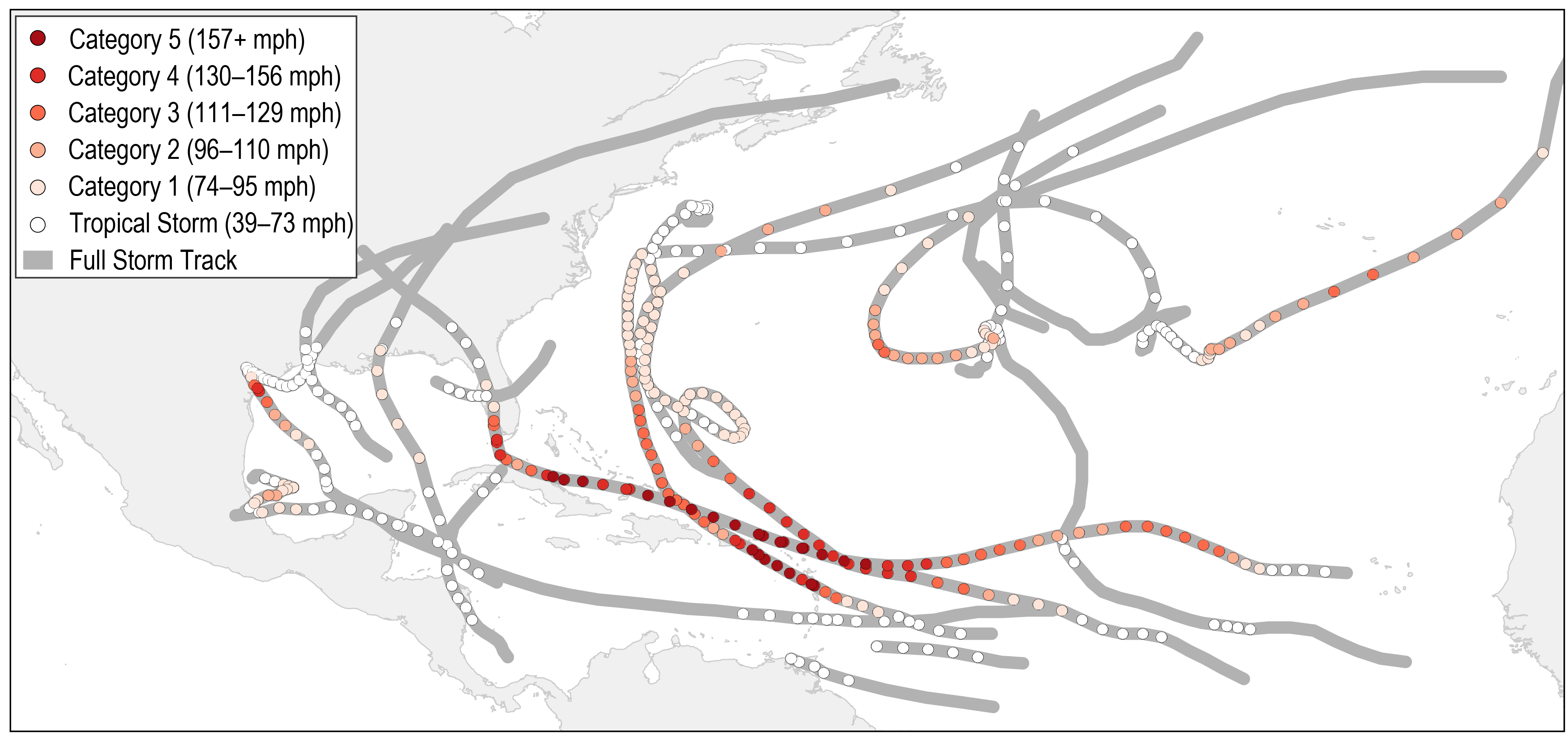 cdede74d1f85 Figure 2.8  Tropical cyclone tracks for the 2017 Atlantic hurricane season.  Data are based on the preliminary  operational best-track  provided by the  NOAA ...